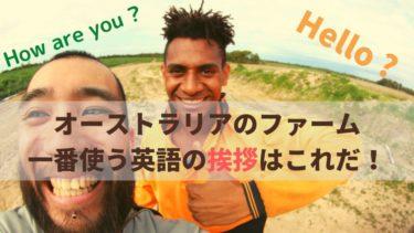 オーストラリアのファーム 生活で一番使う英語の挨拶はこれだ!