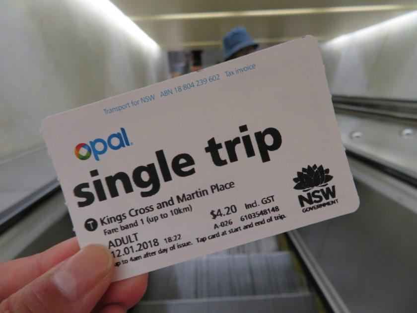 シドニーの電車のチケット