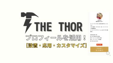 【THE THOR】プロフィールを活用する!【設置方法・応用・カスタマイズ】