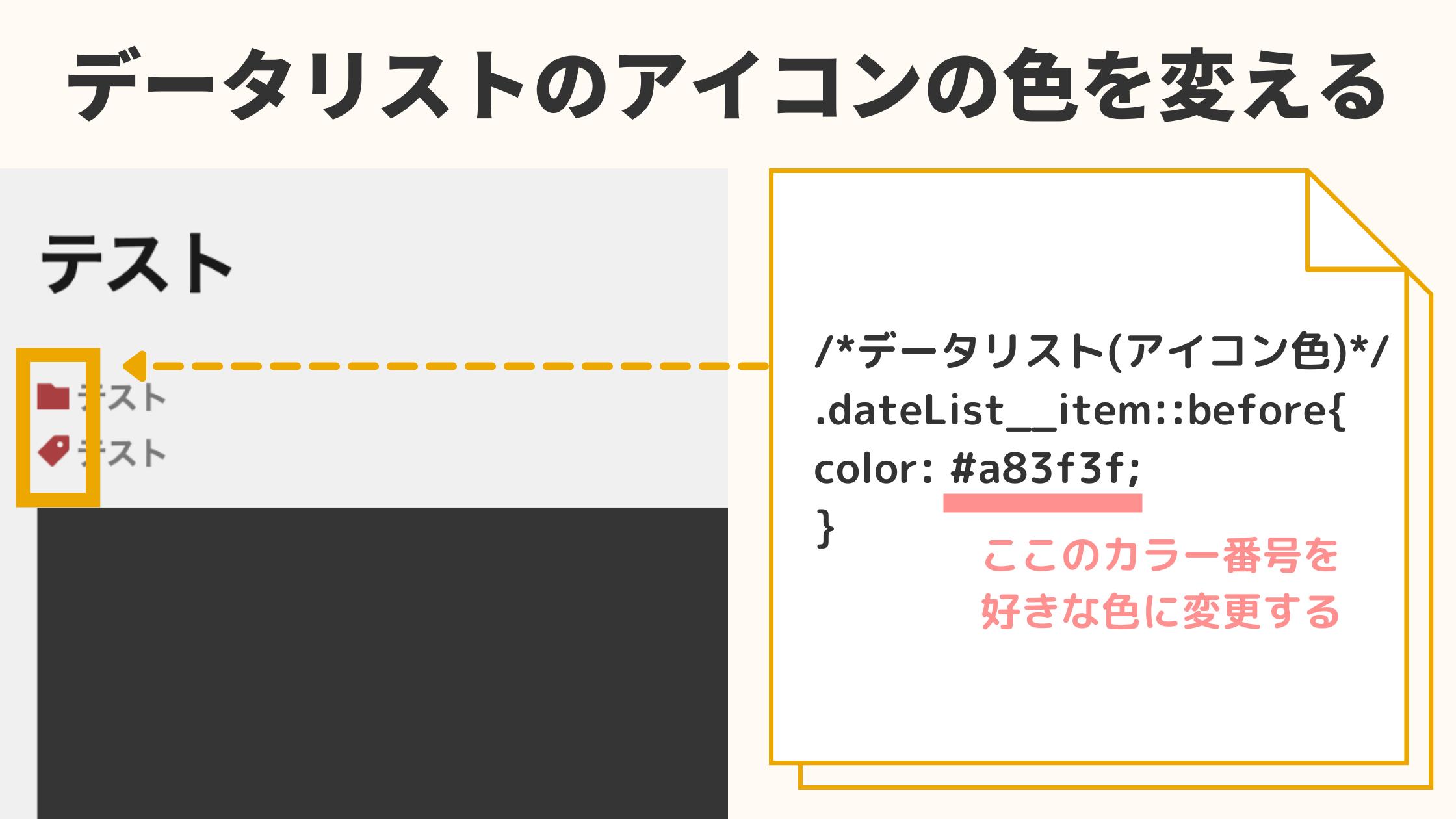 記事情報(データリスト)のアイコンの色を変更する