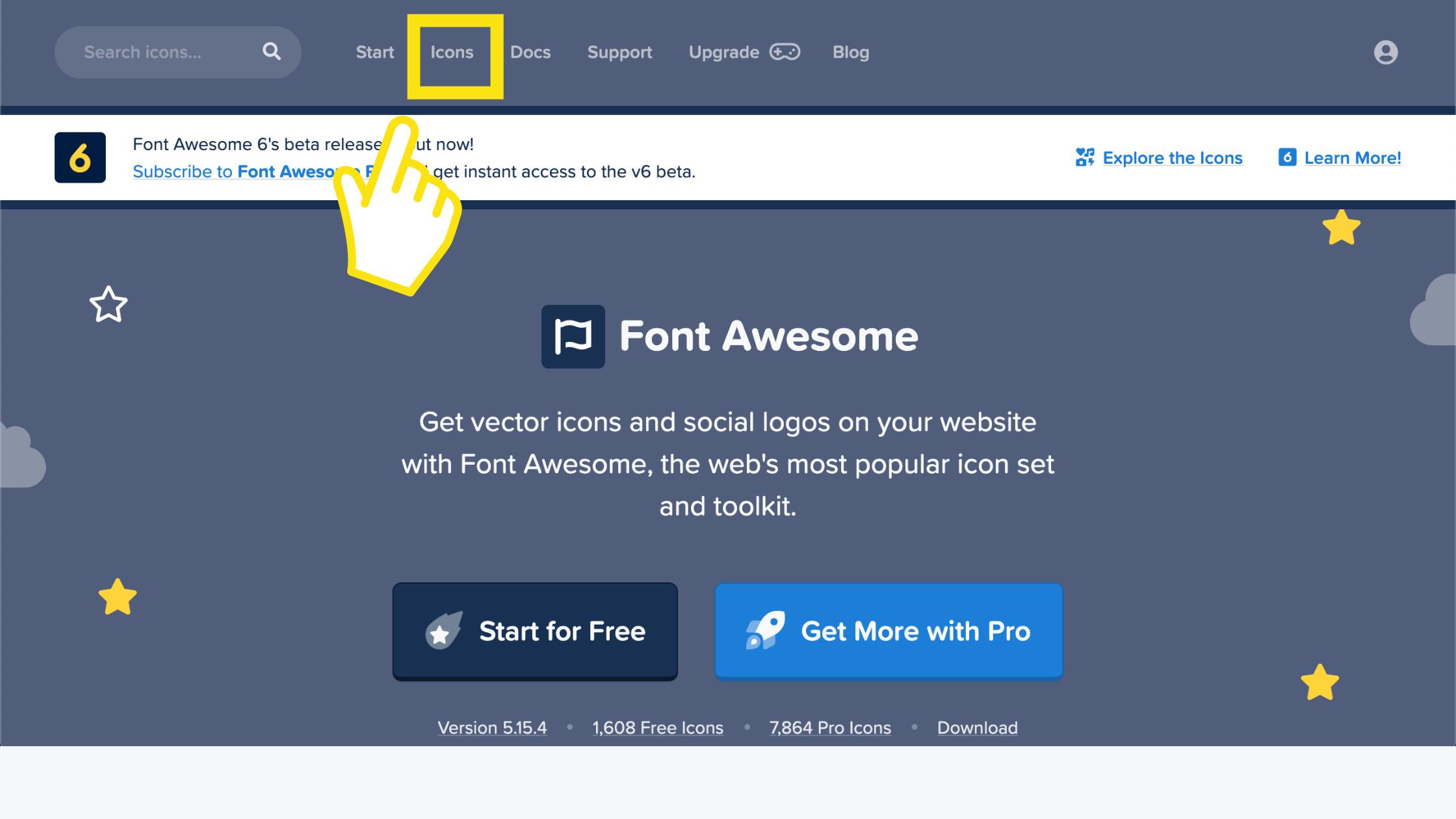 Font Awesomeのアイコンを探してみよう!